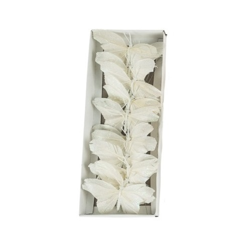 חבילת פרפרים לקישוט - לבן